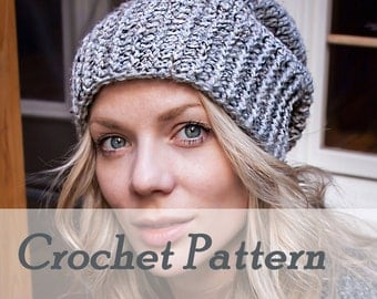 Instant Download Crochet Pattern - Biker Ribbed Slouchy Beanie - Warm winter mens hat womens hat - Detailed Beginner Instructions