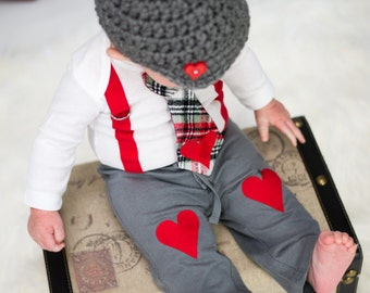 Baby Boys Heart Knee Patch Pants - Photo Prop, Baby Boy Gift, Valentines Day, Antsy Pants