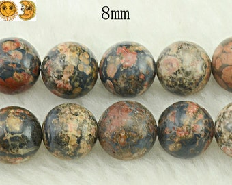 Deactivate---15 inch strand of Leopardskin Jasper smooth round beads 8 mm