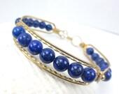 Lapis Lazuli Bracelet, Red Brass Wire, Blue Bangle Bracelet, Healing Crystal Jewelry, Chakra Bracelet, Chakra Jewelry (2058)