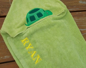 Turtle Personalized Hooded Towel, Turtle Decor, Personalized Kids Hooded Towel, Turtle Birthday Gift, Turtle Beach Towel, Kids Birthday Gift