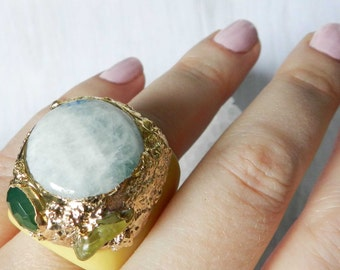 Moonstone Ring, Gold Ring, Gold Dipped, Statement ring, Tagua nut,  Green Chalcedony, Beryl Ring