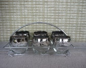 Vintage Silver Ombre Roly Poly Glasses, Set of 6 with Chrome Caddy, Embossed Floral Pattern, Mid Century Modern Glassware