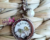 Customized Floating Locket on Chain Necklace- Includes ONE Stamped Plate, ONE Dangle and FOUR charms of your choice