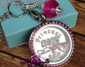Customized Floating PINK Rhinestone 30mm Locket on Chain Necklace- Includes ONE Stamped Plate, ONE Dangle and Charms of your choice