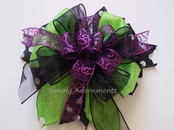 Black Green Purple Halloween Wreath Bow Black Purple Green Halloween Wreath Door Hanger Bow Halloween Wedding Bow Halloween lantern bow