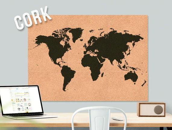 Articoli simili a mondo mappa sughero grandi decorazione - Parete di sughero ...