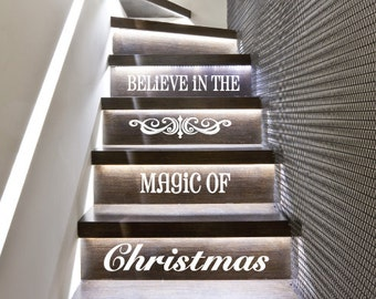 StickTak Stickers Magic Christmas Stairs Vinyl Decal Stickers Xmas Staircase Decoration ST1099