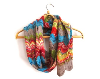 Knitted wool scarf, colorful rainbow scarf for women