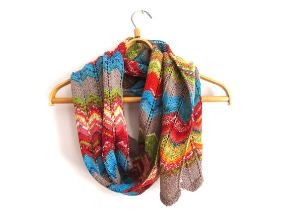 Hand knit colorful rainbow wool scarf, spring fashion for women