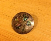 Sterling Brooch/Pendant with Inlaid Abalone Clover