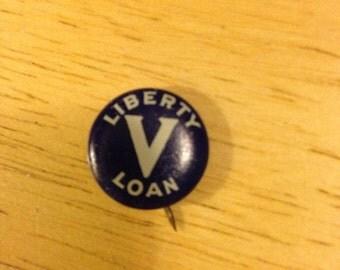 World War I Liberty Loan V Pin Back Button