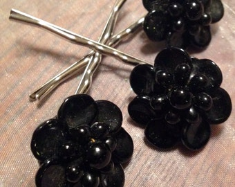 Decorative Hair Jewelry Black West Germany Hairpins Bobby Pins, Set 3