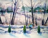 The Biker-Watercolor Print