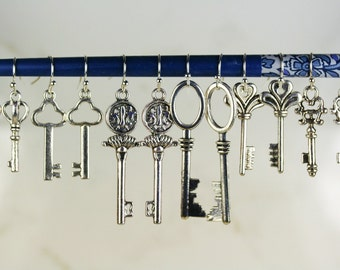6 Pairs Key Earrings Key Jewelry Key Gifts Bulk Jewelry Wholesale Jewelry Skeleton Key Alice In Wonderland Key Silver Keys  Key Earrings