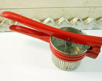 Vintage Red Metal Potato Ricer Retro Kitchen Tool