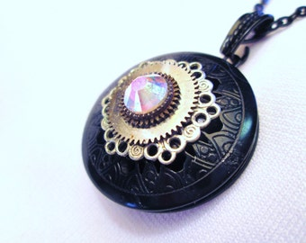 Steampunk LOCKET Necklace BLACK Filigree Gear Watch Parts Silver Filigree PINK Swarovski Two Tone by DKsSteampunk