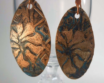 READY to SHIP Handmade Copper Rustic Floral Earrings CPE85