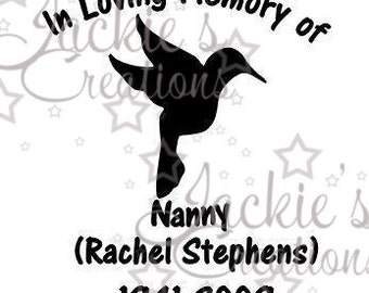 In Loving Memory of Decal with Hummingbird