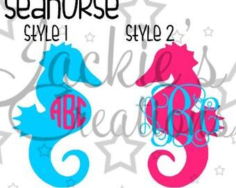 Cute Seahorse Monogram Decal
