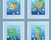 Blue Sea Animals Art for nursery walls