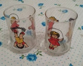80s kid cabbage patch kids doll graphic print juice glass / set of 2