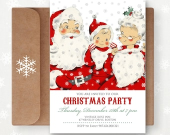 Printable Christmas Invitations Xmas Party Invites Editable Flyers - INSTANT DOWNLOAD - Vintage Santa Claus Holiday Cards DIY