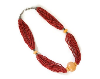 Vintage 70s Boho Chunky Red Beaded Necklace