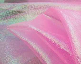 Translucent Iridescent Stretch Lamé Organza Hot Pink 44 Inch Wide Fabric by the Yard, 1 Yard