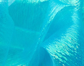 Translucent Iridescent Stretch Lamé Organza Turquoise 44 Inch Wide Fabric by the Yard, 1 Yard