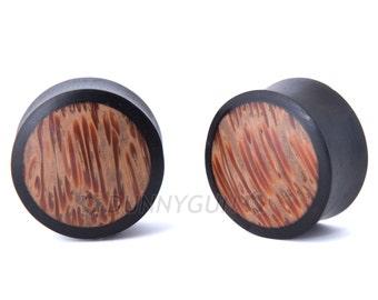 "1"" Pair Black Dogwood with Coconut Wood Inlay Gauged Plugs - Organic Body Piercing Jewelry Gauge Earrings"