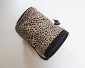 Leopard Print with Purple Iining - Rock Climbing Chalk Bag