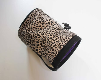 Leopard Print with Purple Iining - Rock Climbing Chalk Bag