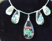5 charm ORGONE quartz crystal wrapped necklace