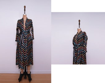 Vintage 40s dressing gown | 1940s striped Plymouth Shops dress