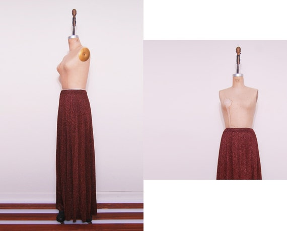 1970s maxi skirt / 70s Juschi glam pleated brown skirt.