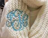 Chunky Winter White Infinity Scarf  Monogram Font Shown MASTER CIRCLE in Light Pool