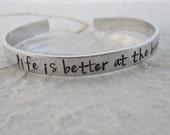 Hand Stamped Beach Bracelet / Hand Stamped Beach Cuff / Hand Stamped Jewelry Beach Bracelet / Your Words Here