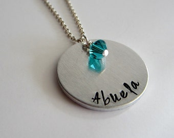 Abuela Necklace - Gift for Grandmother - Hand Stamped Custom Necklace - Spanish Grandmother