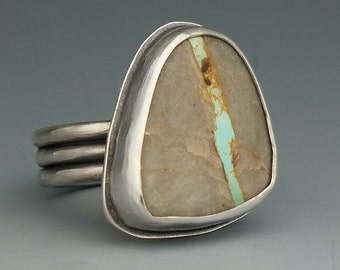 Turquoise Ring, Silver Turquoise Ring, Sterling Silver, Turquoise, Royston Ribbon, Metalsmith Jewelry, Handmade, Size 7