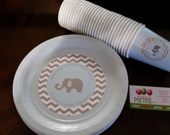 Elephant plates and cups in chevron print that's great for birthdays or baby showers