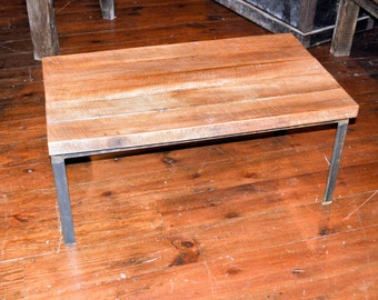 Reclaimed Beech Wood and Metal Coffee Table