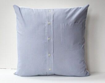 blue striped shirt pillow cover // man's shirt pillow // man cave decor // 18X18 pillowcase // cushion cover 18X18 // upcycled home decor