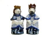 Ceramic Sculpture, Chess Pieces, The White King And Queen