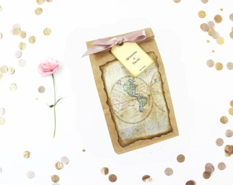 Map Favor Bags - Personalized - Choose Ribbon Color - Travel Wedding Favor Bags, Small, Bridal Shower, Baby Shower, Rustic Kraft Favor Bags