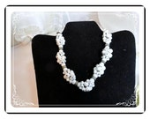 Vintage Milk White Cluster Bead Necklace with Rondele Spacers  Neck-1427e-052412000