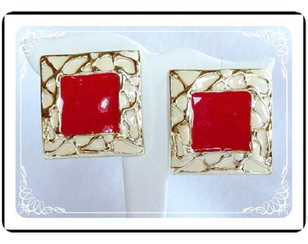Red White Earrings -1980's Large  Abstract Square Earrings - E253a-052212000