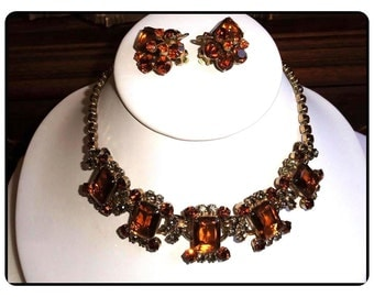 Juliana Classic Necklace/Earrings - Vintage Smoke and Amber Colored - Rhinestone D and E  Demi -  Demi-446a-081614045