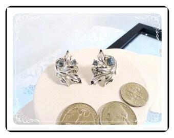 Swirl of Leaves - Blue Rhinestone Vintage Earrings   E2252a-081412000