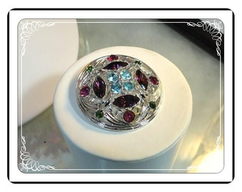 Sarah Coventry Brooch - Vintage Rhinestone - Mod Pink & Blue in Circle Pin-1388a-042613000